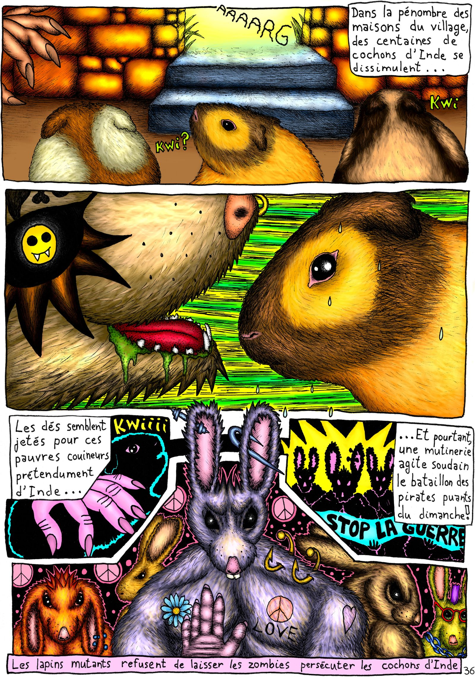 Lapins pacifistes Vs méchants rongeurs mutants