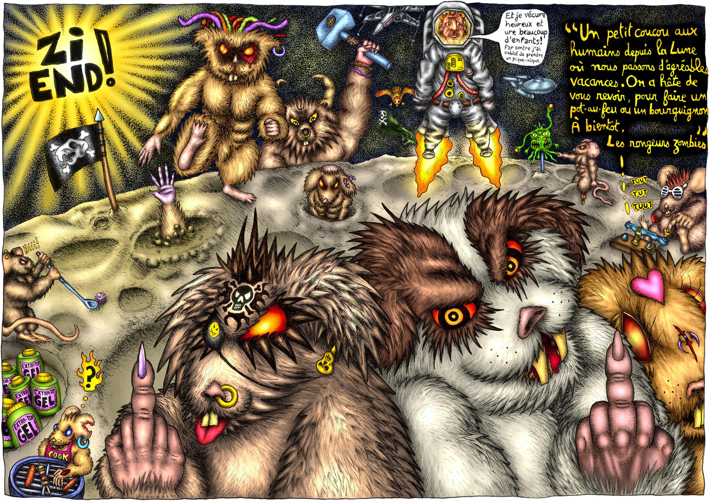 Une carte postale de la Lune avec des rongeurs mutants zombies de l'espace