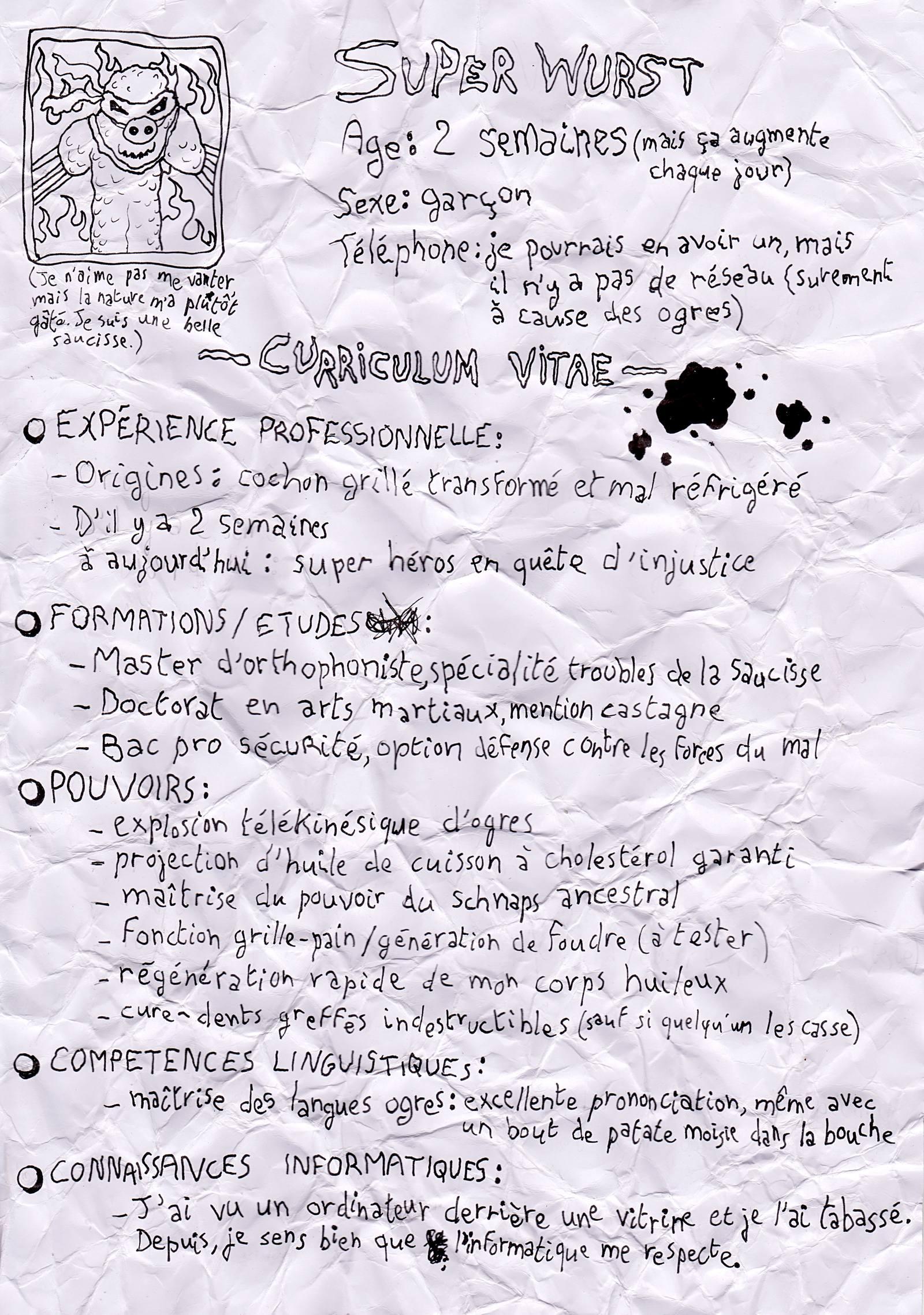 Le CV dégueulasse de ZuperWurst