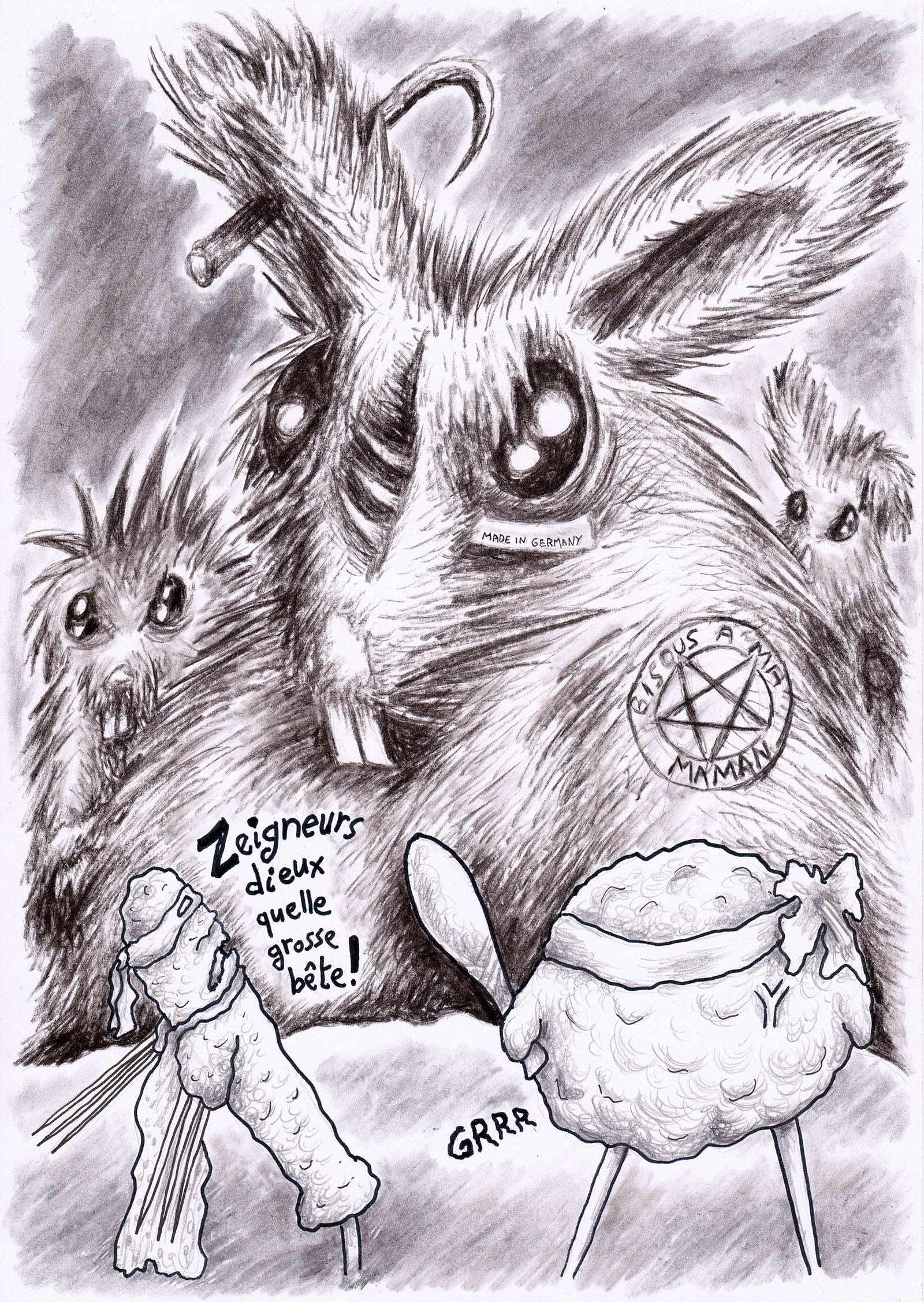 Un vilain lapin mutant zombie face à une boulette et une saucisse